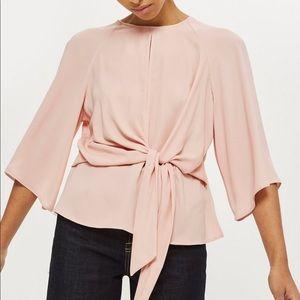 Topshop Pink Tie Blouse